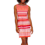Studio 1® Sleeveless Jewel-Neck Fit-and-Flare Dress - Petite
