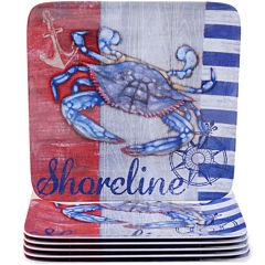 Certified International Martime Set of 6 Melamine Dinner Plates