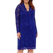 Blu Sage Long-Sleeve Lace Sheath Dress - Plus