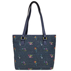 St. John's Bay Embroidered Flower Straw Tote Bag