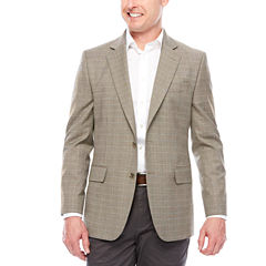 Stafford Stretch Year-Round Brown Blue Check Sport Coat-Classic