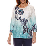 Alfred Dunner 3/4 Sleeve Crew Neck T-Shirt
