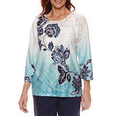 Alfred Dunner 3/4 Sleeve Crew Neck T-Shirt-Womens