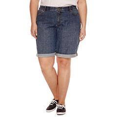 Liz Claiborne Woven Bermuda Shorts-Plus