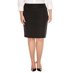 Liz Claiborne Straight Side Zip Pencil Skirt-Plus