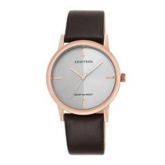 Armitron® Men's 5140 Silver Dial Rose-Tone Bezel Leather Strap Watch