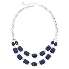Liz Claiborne® Blue Stone Silver-Tone 2-Row Necklace