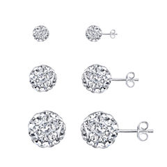 Sparkle Allure 3-pc. Multi Color Crystal Sterling Silver Earring Sets