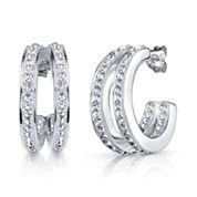 Sparkle Allure White Crystal Silver Over Brass Hoop Earrings