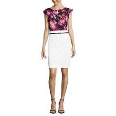 Worthington Short Flutter Sleeve Keyhole T-Shirt and Sateen Belted Pencil Skirt