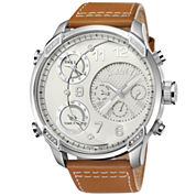 JBW The G4 Mens Diamond-Accent Light Brown Leather Strap Watch J6248LM