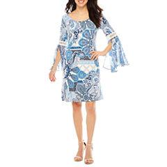 Ronni Nicole Long Sleeve Paisley Shift Dress