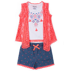 Little Lass 3-pc. Short Set Girls