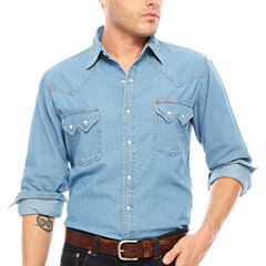 Ely Cattleman® Western Workwear Long Sleeve Snap Bleached Denim