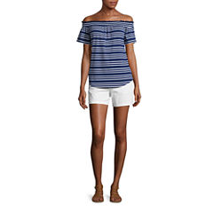 Liz Claiborne Short Sleeve Off Shoulder T-Shirt and Twill Chino Shorts