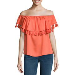 a.n.a Short Sleeve Boat Neck Woven Blouse