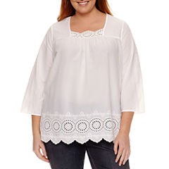 St. John's Bay 3/4 Sleeve V Neck Blouse-Plus