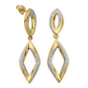 14K Gold over Sterling Diamond-Accent Diamond-Shaped Earrings