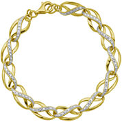 Diamond-Accent 14K Gold Over Silver Infinity Link Bracelet