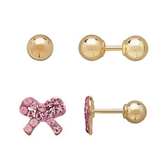 Infinite Gold™ Kids 14K Yellow Gold Pink Crystal-Accent Bow and Ball Stud 2-pr. Earring Set