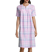 By Miss Elaine Short Sleeve Seersucker Robe
