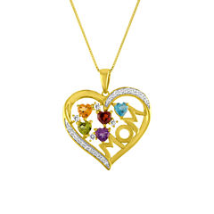 Womens Multi Color Amethyst 14K Gold Over Silver Pendant Necklace