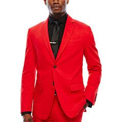 JF J. Ferrar Cotton Cabret Red Sport Coat-Slim