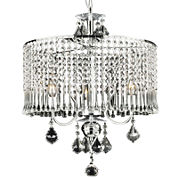 Gallery 3-Light Chrome and Crystal Chandelier - Crystal Shade
