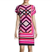 Studio 1® Short-Sleeve Geo-Print Shift Dress