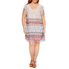 R & K Originals Short Flutter Sleeve Tassle Trim Sheath Dress-Plus