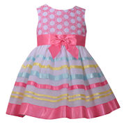 Bonnie Jean sleeveless ballerina embroidered bodice with ribbon trim skirt  - Baby Girls