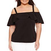 Bisou Bisou Short Sleeve Cold Shoulder Textured Knit Blouse-Plus