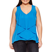 Bisou Bisou Sleeveless V Neck Ruffle Front Woven Blouse-Plus