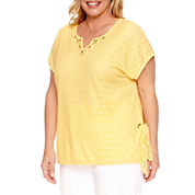 Alfred Dunner Seas The Day Short Sleeve Split Crew Neck T-Shirt-Plus