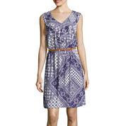 Alyx® Sleeveless Scarf-Print Ruffle-Front Blouson Dress