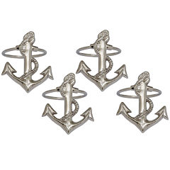 Design Imports Anchor Set of 4 Brass Napkin Rings