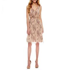 Scarlett Sleeveless Embroidered Fit & Flare Dress-Talls