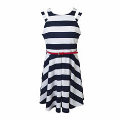 Lilt Sleeveless Belted Stripe A-Line Dress - Girls' 7-16