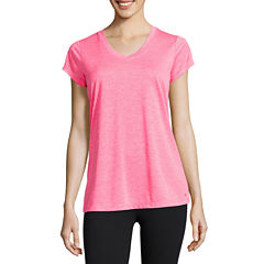 Xersion Short Sleeve V Neck T-Shirt-Womens Petites