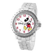 Disney Womens Mickey Mouse White Enamel Sparkle Watch