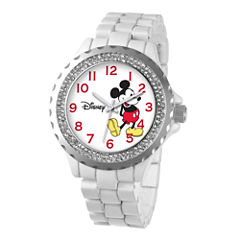Disney Womens Mickey Mouse White Enamel Sparkle Watch