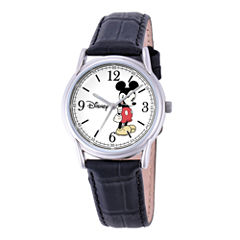Disney Cardiff Womens Mickey Mouse Black Leather Watch