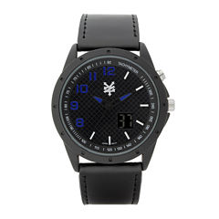Zoo York® Mens Black Leather Strap Watch