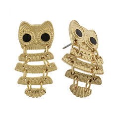 Capelli New York Gold-Tone Owl Drop Earrings