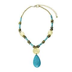 Aris by Treska Blue Stone Pendant Necklace