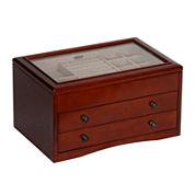 Mele & Co. Walnut Glass Top Jewelry Box