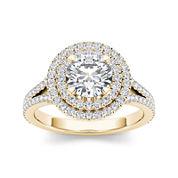 1 1/2 CT. T.W. Diamond 14K Yellow Gold Halo Engagement Ring