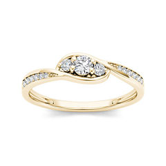 1/5 CT. T.W. Diamond 10K Yellow Gold 3-Stone Engagement Ring
