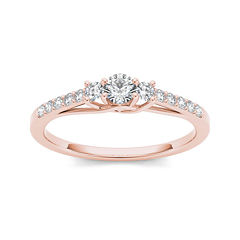 1/3 CT. T.W. Diamond 10K Rose Gold 3-Stone Engagement Ring