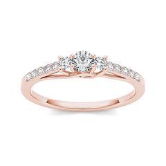 1/3 CT. T.W. Diamond 10K Rose Gold 3-Stone Engagement Ring